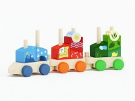 Wood toy trains 3d preview