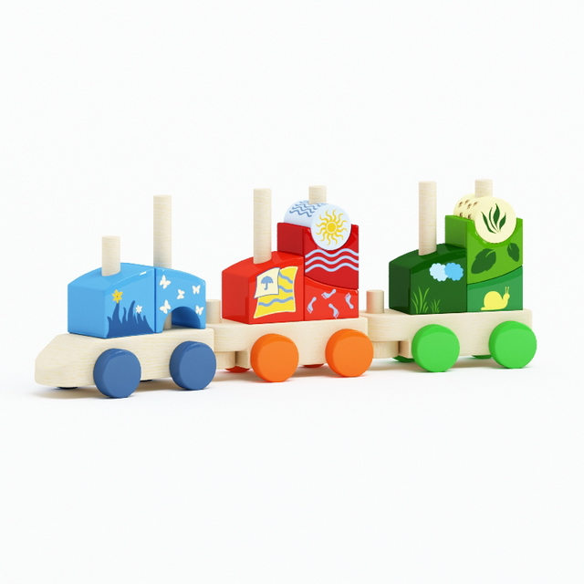 Wood toy trains 3d rendering
