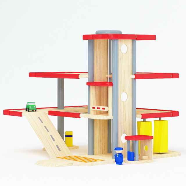 Wood toy play sets 3d rendering