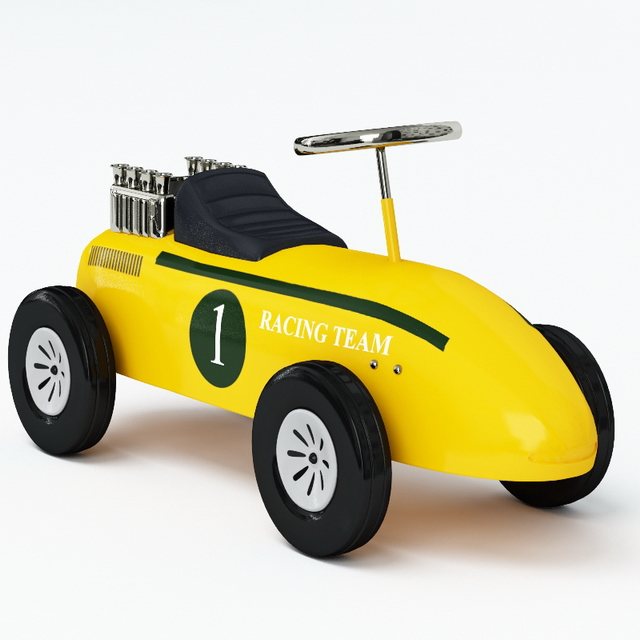 Electric toy race car 3d rendering