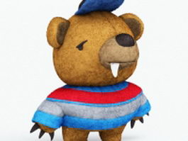 Stuffed toy monster bear 3d preview