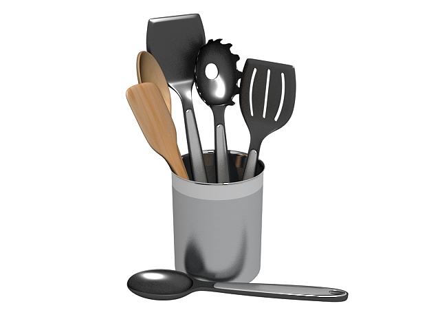 Cooking tool sets 3d rendering