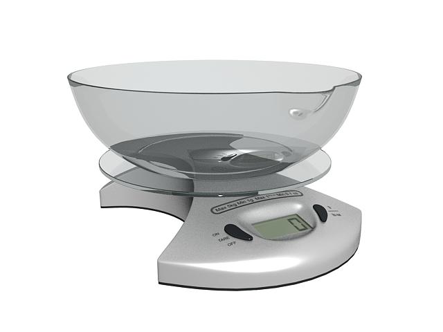 Digital kitchen scale 3d rendering