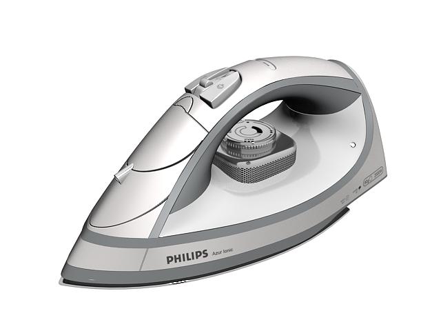 Philips dry iron 3d rendering