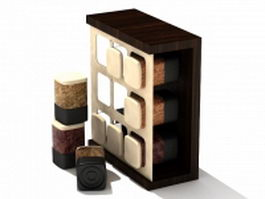 Spice jars and rack 3d preview