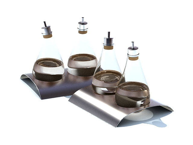 Glass spice bottles with tray 3d rendering