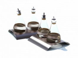 Glass spice bottles with tray 3d preview