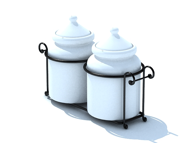 Ceramic sugar pots 3d rendering