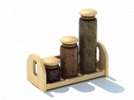 Wooden spice jars with tray 3d preview