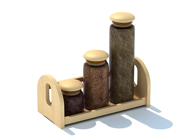 Wooden spice jars with tray 3d rendering