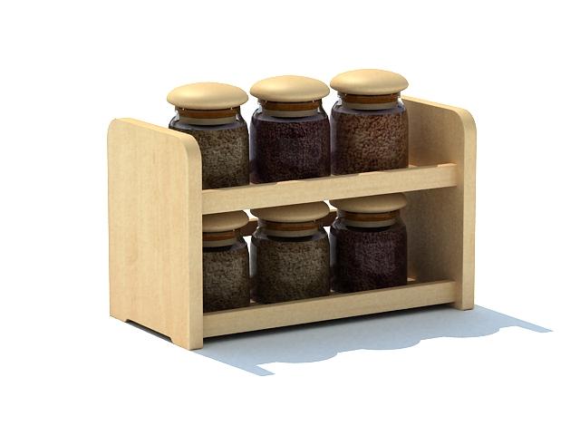 6 Jar wooden spice rack shelf 3d rendering