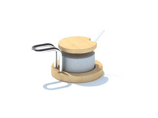 Glass sugar jar 3d rendering