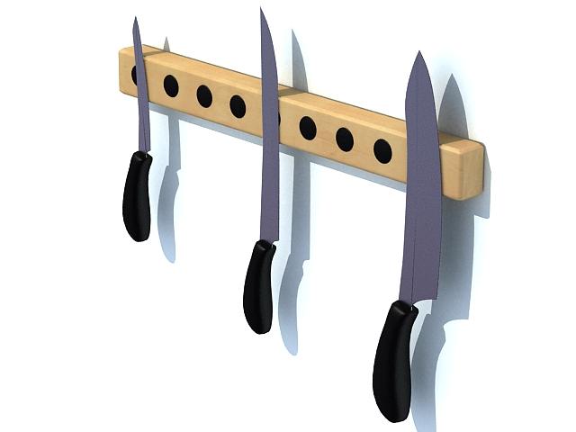 Magnetic knife holder 3d rendering