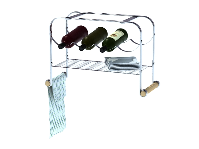Dish and wine rack 3d rendering