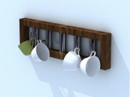 Wood cup rack 3d model preview