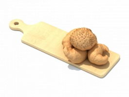 Bamboo cutting board 3d preview