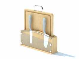 Cutting board and knife holder 3d preview