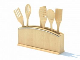 Kitchen utensil holder 3d model preview