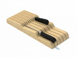 Wood knife storage tray 3d model preview