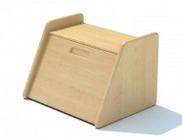 Wooden tableware box 3d model preview