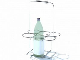 Wire wine holder rack 3d preview