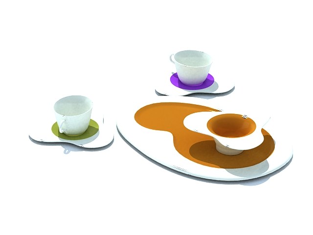 Coffee and tea cup sets 3d rendering