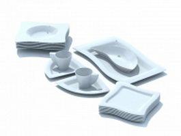 White dinnerware set 3d model preview