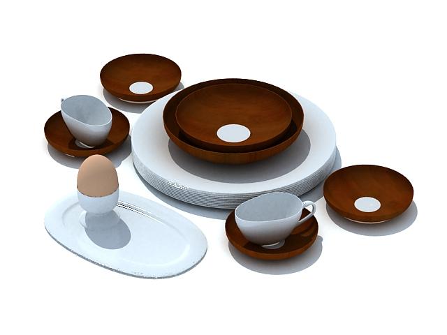 Breakfast dinnerware set 3d rendering