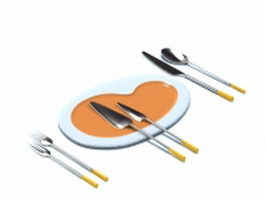 Stainless steel cutlery set 3d preview