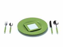 Olive green cutlery sets 3d preview