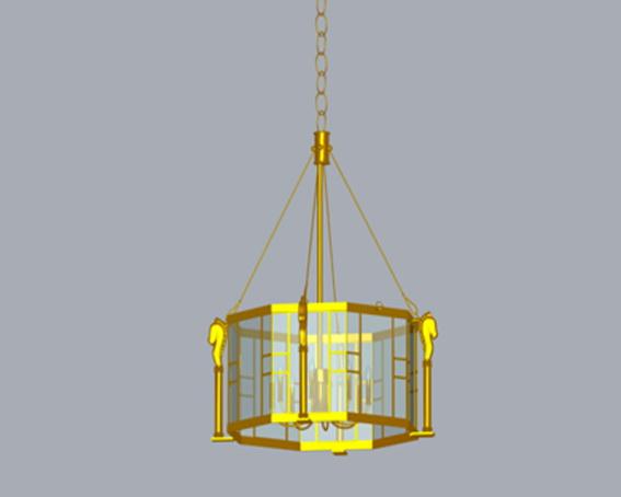 Vintage glass pendant lights 3d rendering