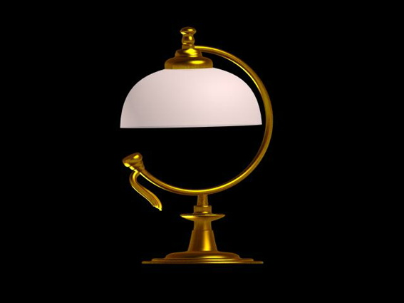 Antique brass table lamp 3d rendering
