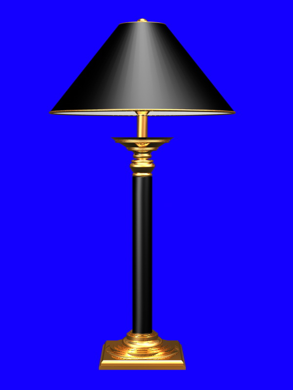Black table lamp for living room 3d rendering
