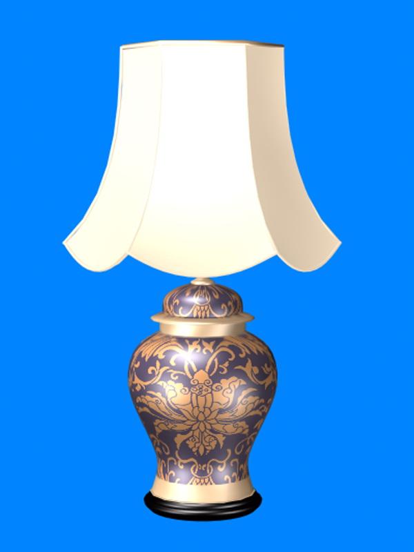 Elegant porcelain table lamp 3d rendering