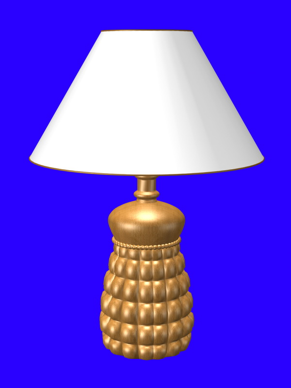 Carved wood table lamp 3d rendering