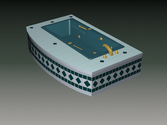 tiles for a small bathroom sunken bathtub 3d model 3d studio 3ds max files free 24379