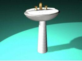 Pedestal oval basin 3d preview