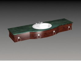 Wall wash basin counter 3d model preview