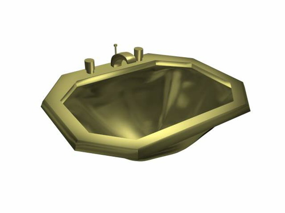 Brass  wash basin 3d rendering
