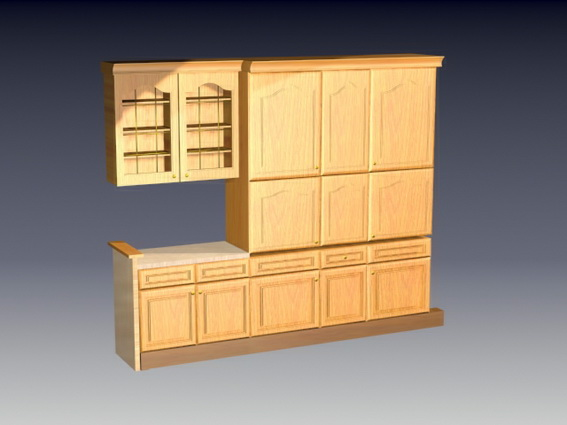 Kitchen wall cupboards 3d rendering