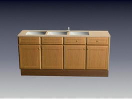 Kitchen cabinet with sink 3d model preview