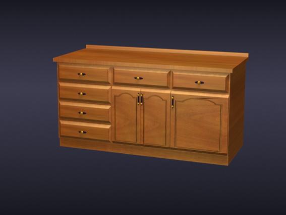 Oak kitchen cabinets 3d rendering