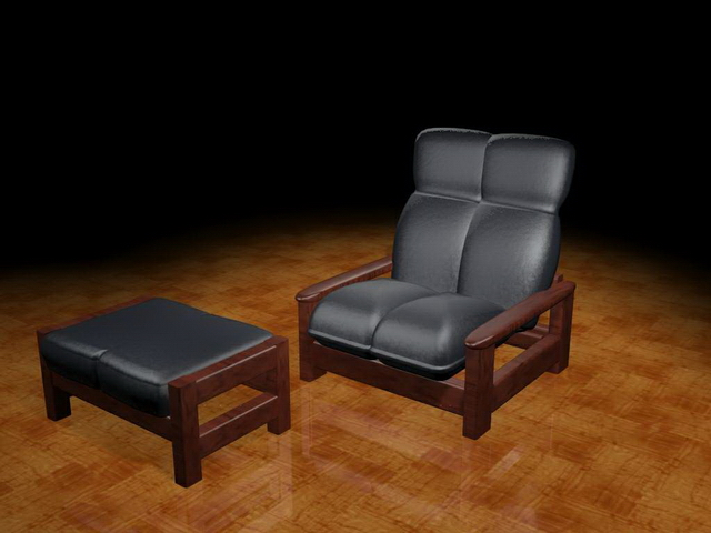Vintage couch and ottoman 3d rendering