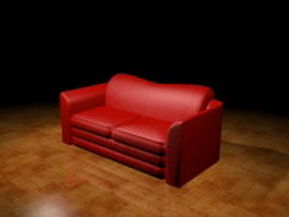 Red loveseat 3d preview