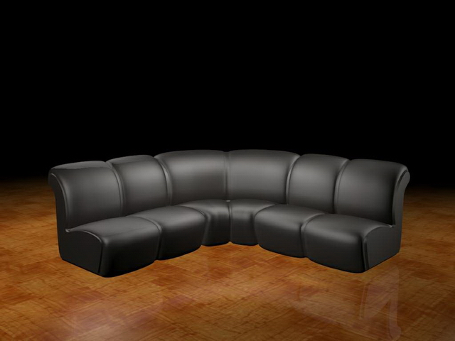 Black sectional couches 3d rendering