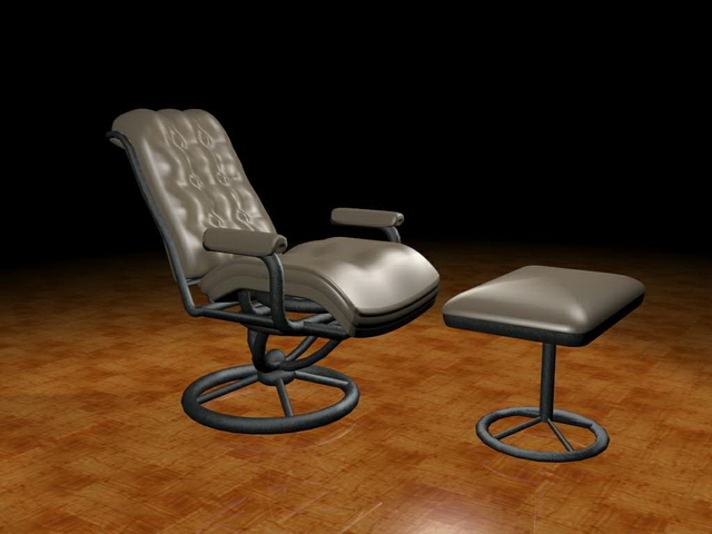 Recliner chair with ottoman 3d rendering
