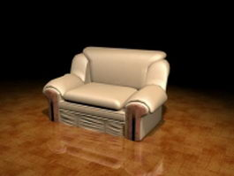 Beige leather reclining sofa 3d preview