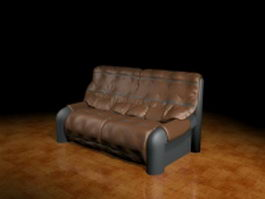 Leather settee furniture 3d model preview