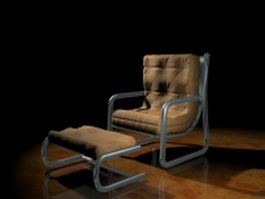 Vintage chair with ottoman 3d preview