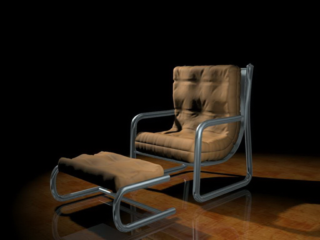 Vintage chair with ottoman 3d rendering